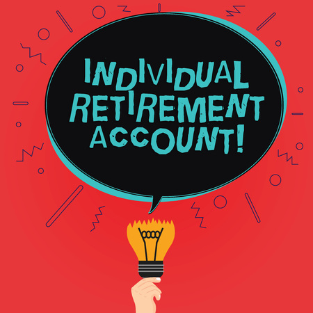 Writing note showing Individual Retirement Account. Business photo showcasing Invest and earmark funds for retirement Oval Speech Bubble Above a Broken Bulb with Failed Idea icon