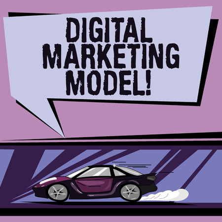 Conceptual hand writing showing Digital Marketing Model. Business photo showcasing company s is plan for how it will generate revenues Car with Fast Movement icon and Exhaust Smoke Speech Bubble