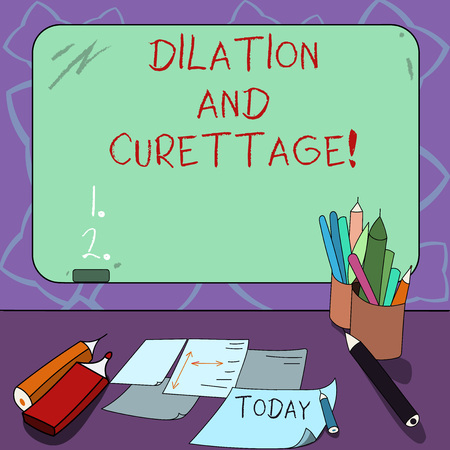 Word writing text Dilation And Curettage. Business concept for procedure to remove tissue from inside your uterus Mounted Blank Color Blackboard with Chalk and Writing Tools Sheets on Desk Stock Photo