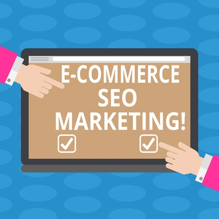 Word writing text E Commerce Seo Marketing. Business concept for Rise visibility of online store in search result Hu analysis Hands from Both Sides Pointing on a Blank Color Tablet Screen