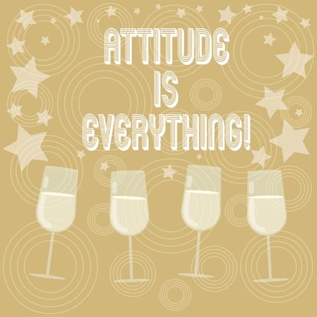 Writing note showing Attitude Is Everything. Business photo showcasing understanding persuades our attitude about thing Filled Cocktail Wine Glasses with Scattered Stars as Confetti Stemware Stock fotó