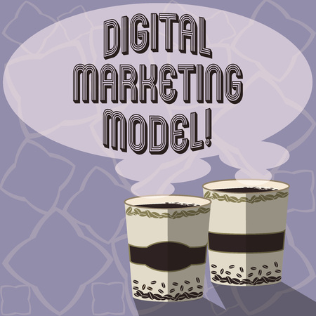 Text sign showing Digital Marketing Model. Conceptual photo company s is plan for how it will generate revenues Two To Go Cup with Beverage and Steam icon Blank Speech Bubble photo