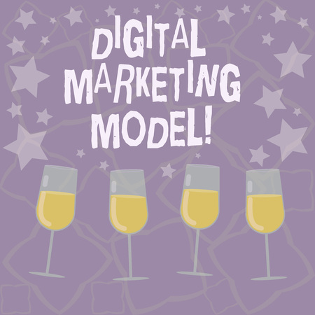 Writing note showing Digital Marketing Model. Business photo showcasing company s is plan for how it will generate revenues Filled Cocktail Wine Glasses with Scattered Stars as Confetti Stemware