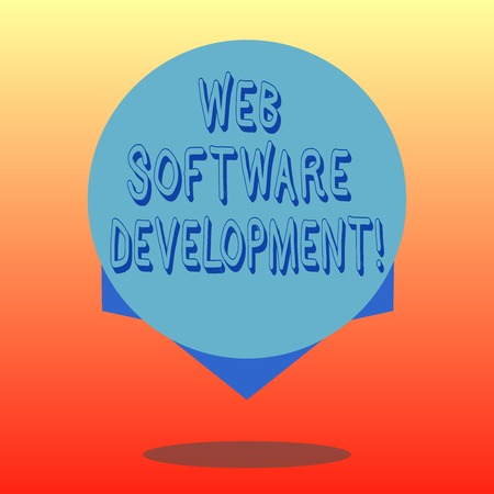 Handwriting text Web Software Development. Concept meaning plan to make consumers aware of a product Blank Color Circle Floating photo with Shadow and Design at the Edge