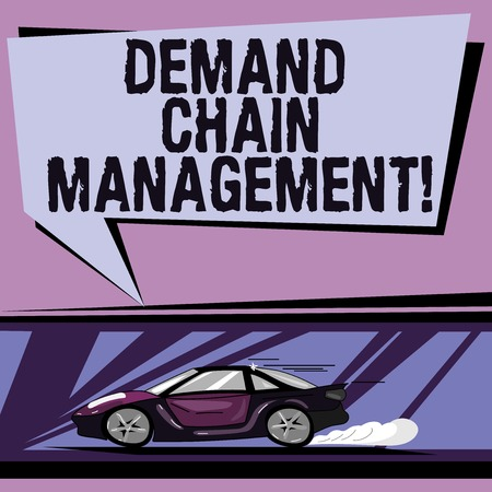 Conceptual hand writing showing Deanalysisd Chain Management. Business photo showcasing Relationships between suppliers and customers Car with Fast Movement icon and Exhaust Smoke Speech Bubble Stock fotó