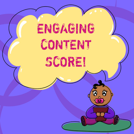 Writing note showing Engaging Content Score. Business photo showcasing Measures how engaged your customers are in a content Baby Sitting on Rug with Pacifier Book and Cloud Speech Bubble