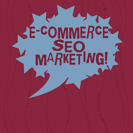 Writing note showing E Commerce Seo Marketing. Business photo showcasing Rise visibility of online store in search result Blank Oval Color Speech Bubble with Stars as Outline photo Text Space Banque d'images