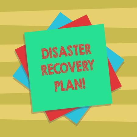 Text sign showing Disaster Recovery Plan. Conceptual photo plan for business stability in the event of disaster Multiple Layer of Blank Sheets Color Paper Cardboard photo with Shadow