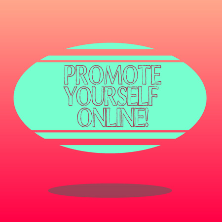 Handwriting text writing Promote Yourself Online. Concept meaning Clearly defined brand that makes you stand out Blank Color Oval Shape with Horizontal Stripe Floating and Shadow photo Stock Photo