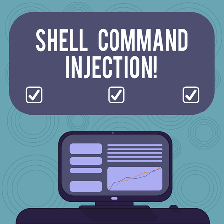 Conceptual hand writing showing Shell Comanalysisd Injection. Business photo showcasing used by hackers to execute system comanalysisds on server Mounted Computer Screen with Line Graph on Text Box