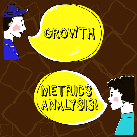 Word writing text Growth Metrics Analysis. Business concept for Evaluating the company s is historical growth Hand Drawn Man and Wo analysis Talking photo with Blank Color Speech Bubble