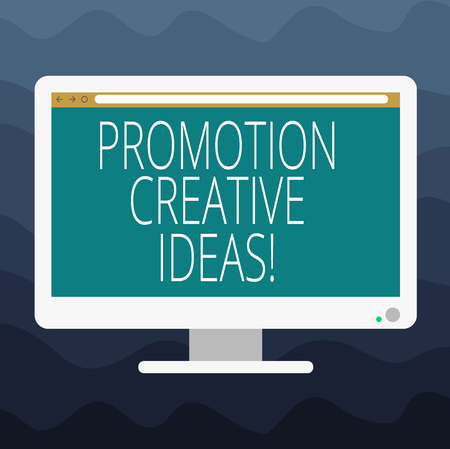 Writing note showing Promotion Creative Ideas. Business photo showcasing draws attention to your organization or initiative Blank Computer Desktop Monitor Color Screen Mounted with Progress Bar 版權商用圖片