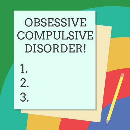 Word writing text Obsessive Compulsive Disorder. Business concept for Person has uncontrollable reoccurring thoughts Stack of Blank Different Pastel Color Construction Bond Paper and Pencil