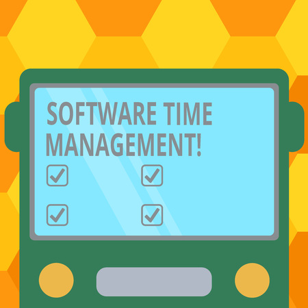 Handwriting text Software Time Management. Concept meaning Tools used to monitor workers time spent in work Drawn Flat Front View of Bus with Blank Color Window Shield Reflecting