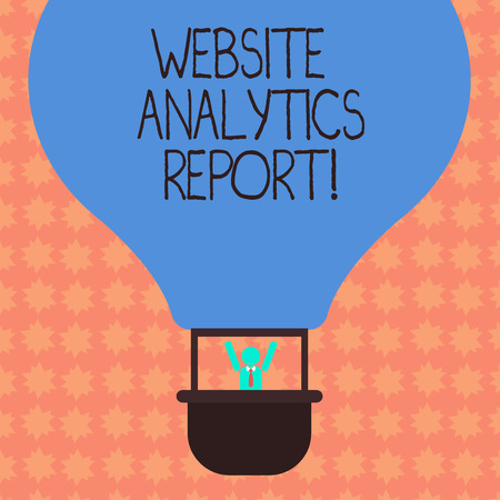 Writing note showing Website Analytics Report. Business photo showcasing procedures used to optimize the rank of the website Hu analysis Dummy Arms Raising inside Gondola Riding Air Balloon Фото со стока