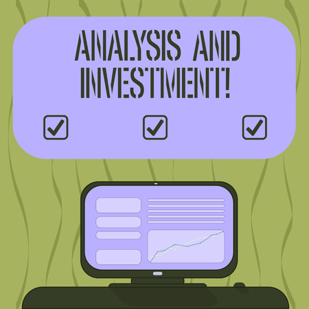 Writing note showing Analysis And Investment. Business photo showcasing Engaging to a modern search engine solutions Mounted Computer Screen with Line Graph on Desk Blank Color Text Box Stock Photo