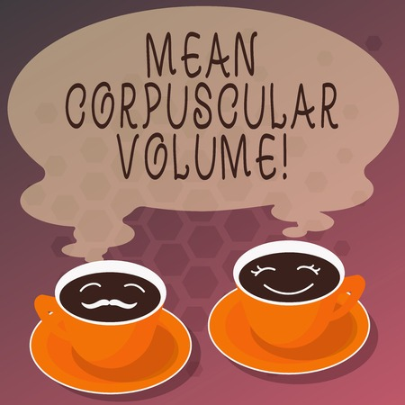Word writing text Mean Corpuscular Volume. Business concept for average volume of a red blood corpuscle measurement Sets of Cup Saucer for His and Hers Coffee Face icon with Blank Steam