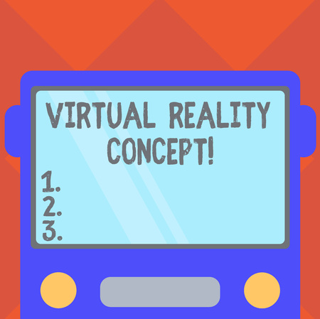Handwriting text writing Virtual Reality Concept. Concept meaning artificial environment that is created with software Drawn Flat Front View of Bus with Blank Color Window Shield Reflecting