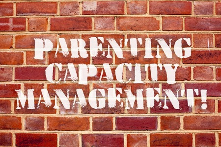 Word writing text Parenting Capacity Management. Business concept for parents ability to protect children from risk