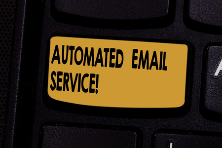 Text sign showing Automated Email Service. Conceptual photo automatic decision making based on big data Keyboard key Intention to create computer message pressing keypad idea
