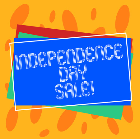 Conceptual hand writing showing Independence Day Sale. Business photo showcasing Promotions and discounts during Independence Day Pile of Rectangular Outlined Different Color Construct Paper