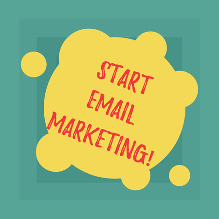 Conceptual hand writing showing Start Email Marketing. Business photo showcasing Use of email to promote products andoror services Blank Deformed Color Round Shape with Small Circles