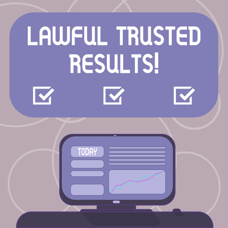 Word writing text Lawful Trusted Results. Business concept for Closing deal secure by legal contracts and agreement Mounted Computer Screen with Line Graph on Desk Blank Color Text Box Stock fotó