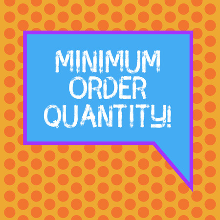 Writing note showing Minimum Order Quantity. Business photo showcasing lowest quantity of a product a supplier can sell Blank Rectangular Color Speech Bubble with Border photo Right Hand