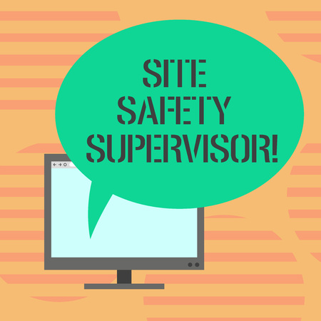 Word writing text Site Safety Supervisor. Business concept for responsible for employing safety regulations in site Mounted Computer Monitor Blank Screen with Oval Color Speech Bubble