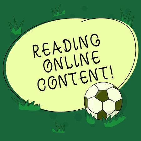 Text sign showing Reading Online Content. Conceptual photo Extracting meaning from a digital format text Soccer Ball on the Grass and Blank Outlined Round Color Shape photo