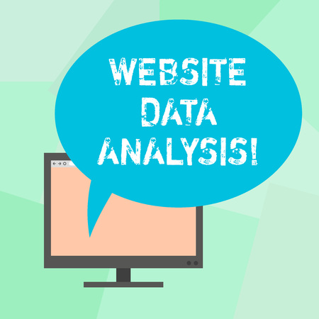 Conceptual hand writing showing Website Data Analysis. Business photo text analysis and report of web data for enhancing webpage Mounted Computer Blank Screen with Oval Color Speech Bubble