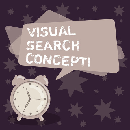 Handwriting text writing Visual Search Concept. Concept meaning perceptual task requiring attention for an object Blank Rectangular Color Speech Bubble Overlay and Analog Alarm Clock