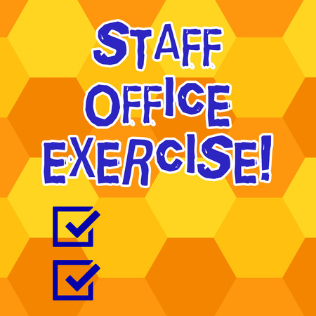 Writing note showing Staff Office Exercise. Business photo showcasing Promoting physical fitness routine for office staff Geometrical Blank Color Shape Hexagon in Seamless Repetition Pattern