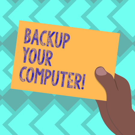Text sign showing Backup Your Computer. Conceptual photo Produce exact copy in case of equipment breakdown Drawn Hu analysis Hand Holding Presenting Blank Color Paper Cardboard photo