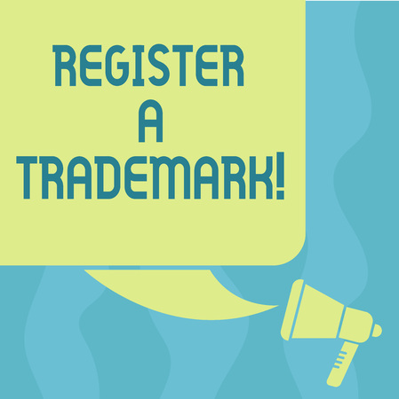 Conceptual hand writing showing Register A Trademark. Business photo showcasing To record or list as official company brand  Color Silhouette of Blank Square Speech Bubble and Megaphone 写真素材