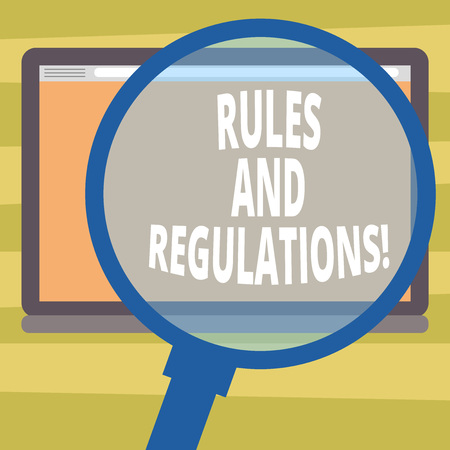 Text sign showing Rules And Regulations. Conceptual photo guidelines to follow when entering into a transaction Magnifying Glass Enlarging Tablet Blank Color Screen photo text Space Foto de archivo