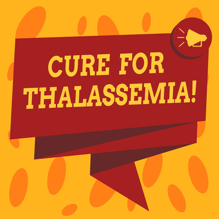 Writing note showing Cure For Thalassemia. Business photo showcasing Treatment needed for this inherited blood disorder Folded 3D Ribbon Sash Megaphone Speech Bubble photo for Celebration Foto de archivo - 115770927