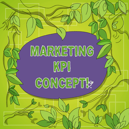 Writing note showing Marketing Kpi Concept. Business photo showcasing measure efficiency of campaigns in marketing channels Tree Branches Scattered with Leaves Surrounding Blank Color Text Space