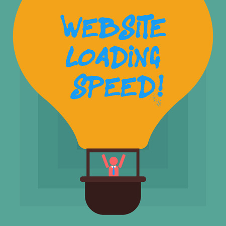 Conceptual hand writing showing Website Loading Speed. Business photo showcasing time takes to display the entire content of a webpage Hu analysis Dummy Arms Raising in Gondola Riding Air Balloon