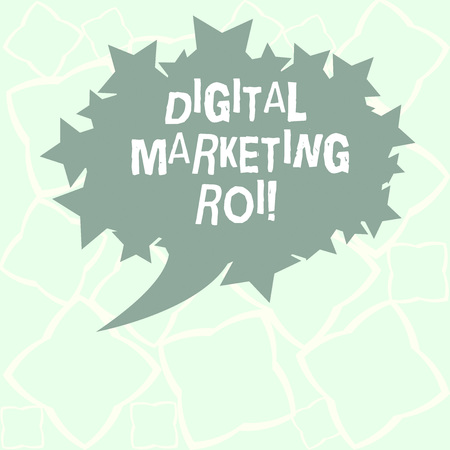 Writing note showing Digital Marketing Roi. Business photo showcasing getting the money s is worth from marketing campaigns Blank Oval Color Speech Bubble with Stars as Outline photo Text Space