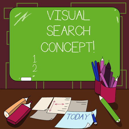 Writing note showing Visual Search Concept. Business photo showcasing perceptual task requiring attention for an object Mounted Blackboard with Chalk Writing Tools Sheets on Desk