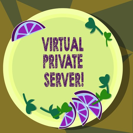 Text sign showing Virtual Private Server. Conceptual photo sold as a service by an Internet hosting service Cutouts of Sliced Lime Wedge and Herb Leaves on Blank Round Color Plate
