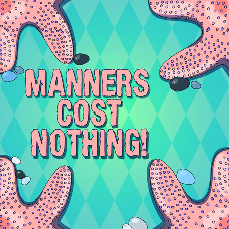 Text sign showing Manners Cost Nothing. Conceptual photo No fee on expressing gratitude or politeness to others Starfish photo on Four Corners with Colorful Pebbles for Poster Ads Cards Standard-Bild