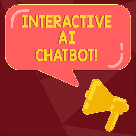 Text sign showing Interactive Ai Chatbot. Conceptual photo computer program that simulates huanalysis conversation Megaphone photo and Blank Rectangular Color Speech Bubble with Reflection