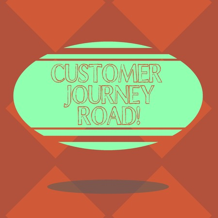 Handwriting text Customer Journey Road. Concept meaning Customer experiences when interacting your brand Blank Color Oval Shape with Horizontal Stripe Floating and Shadow photo