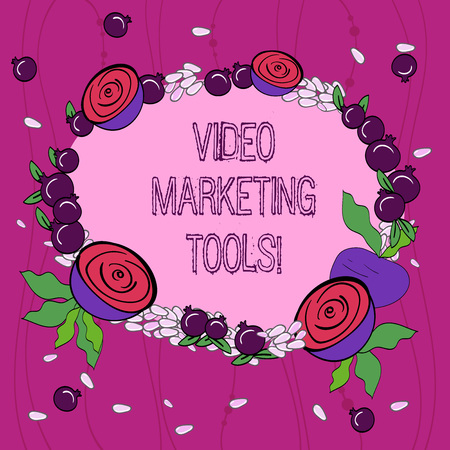Conceptual hand writing showing Video Marketing Tools. Business photo showcasing Technique used to increase audience engagement Floral Wreath made of Tiny Seeds Small Glossy Pomegranate Archivio Fotografico