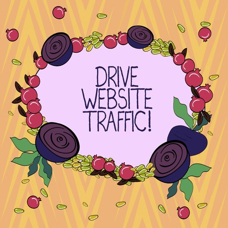Conceptual hand writing showing Drive Website Traffic. Business photo text Increase the number of visitors to business website Floral Wreath made of Tiny Seeds Small Glossy Pomegranate