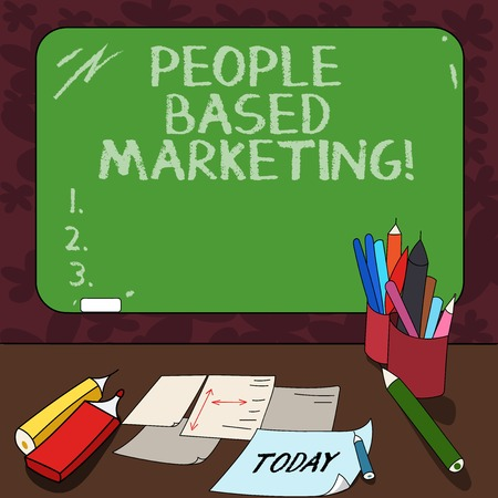 Word writing text People Based Marketing. Business concept for Marketing centered around the individual consumer Mounted Blank Color Blackboard with Chalk and Writing Tools Sheets on Desk Stok Fotoğraf