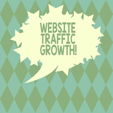 Handwriting text writing Website Traffic Growth. Concept meaning marketing metric that measures visitors of a site Blank Oval Color Speech Bubble with Stars as Outline photo Text Space Archivio Fotografico