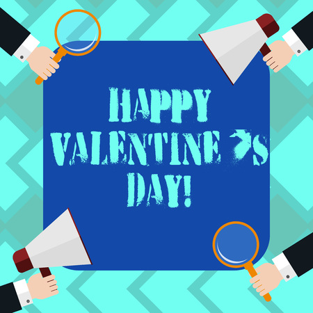 Text sign showing Happy Valentine S Is Day. Conceptual photo when lovers express their affection with greetings Hu analysis Hands Each Holding Magnifying Glass and Megaphone on 4 Corners